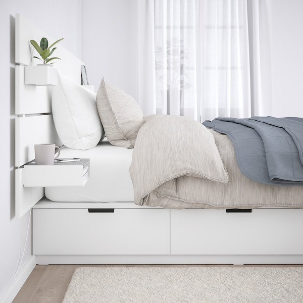 NORDLI Bed frame w storage and headboard, white, 160x200 cm