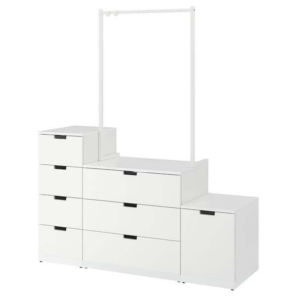 NORDLI خزانة بـ 8 أدراج, أبيض, 160x192 سم