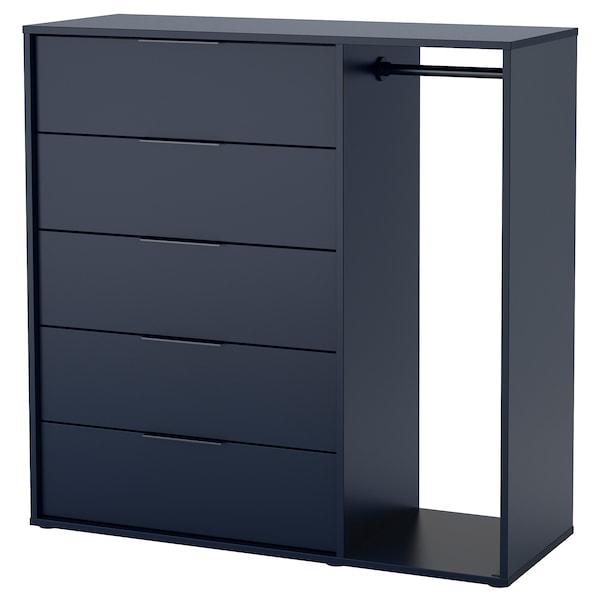 NORDMELA خزانة بأدراج مع ماسورة تعليق ملابس, أسود-أزرق, 119x118 سم
