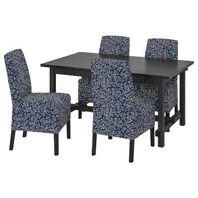 NORDVIKEN / BERGMUND Table and 4 chairs, black/Ryrane dark blue, 152/223 cm
