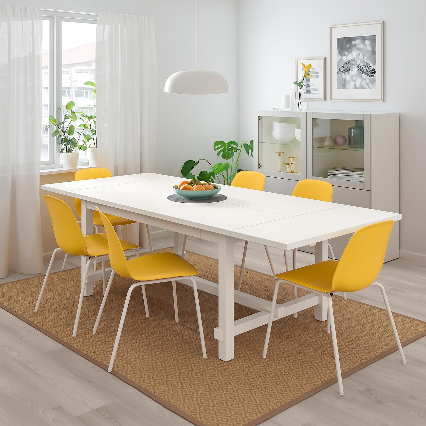 NORDVIKEN / LEIFARNE Table and 10 chairs - white/Broringe white 10/10x10 cm