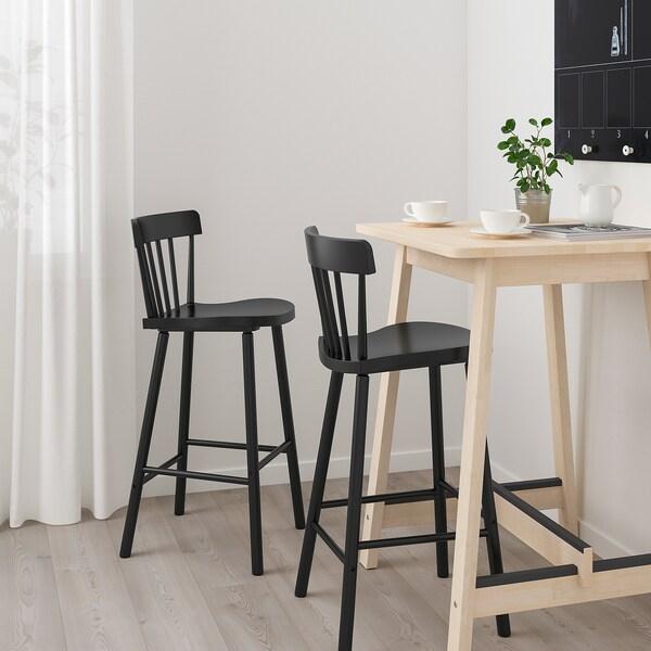 NORRÅKER / NORRARYD طاولة عالية و 2 مقعد عالي, بتولا/أسود, 74 سم