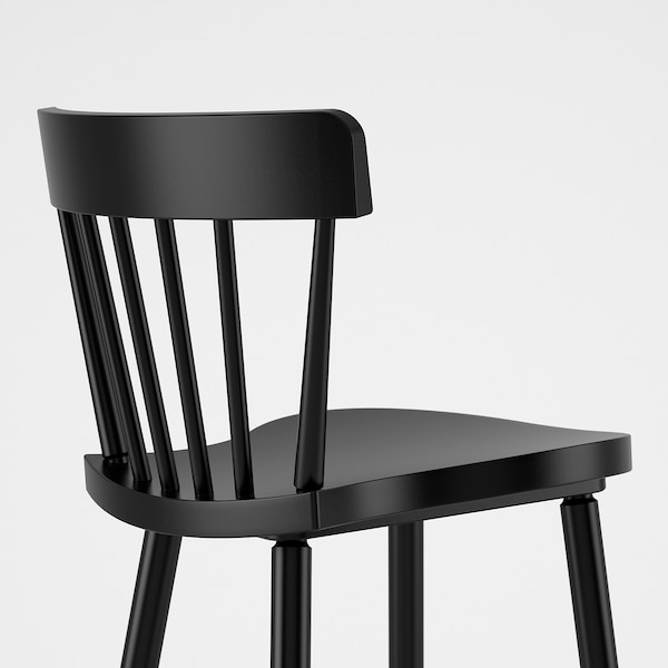 NORRARYD مقعد مرتفع مع مسند ظهر, أسود, 74 سم