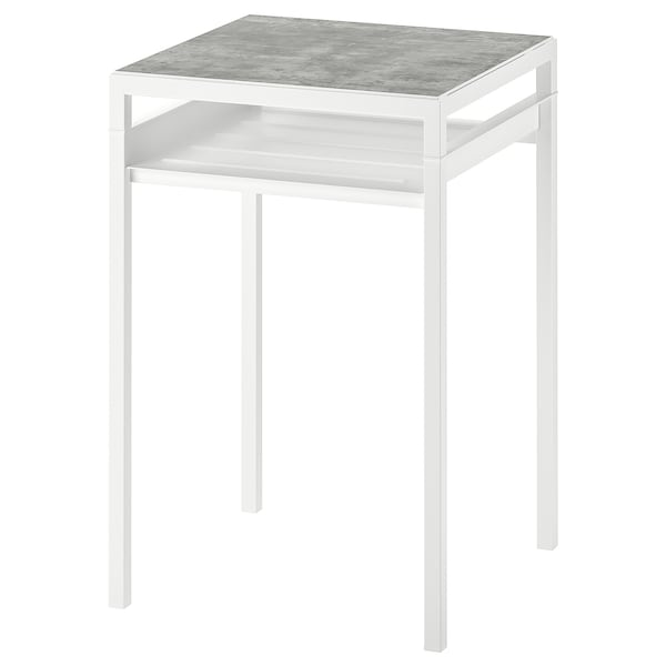 NYBODA Side table w reversible table top, light grey concrete effect/white, 40x40x60 cm