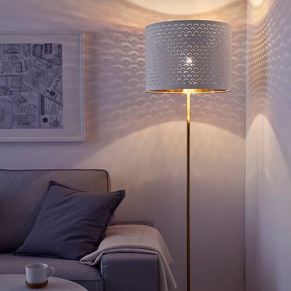 NYMÖ / SKAFTET Floor lamp, white brass/brass