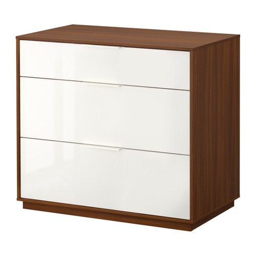 NYVOLL Chest of 3 drawers IKEA Drawers with integrated damper that catches the running drawers so that they close slowly, silently and softly.