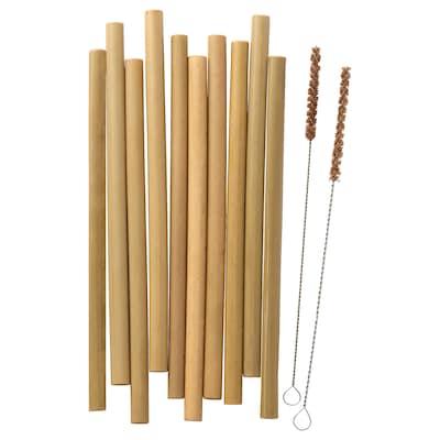 OKUVLIG Drinking straws/cleaning brushes, bamboo/palm