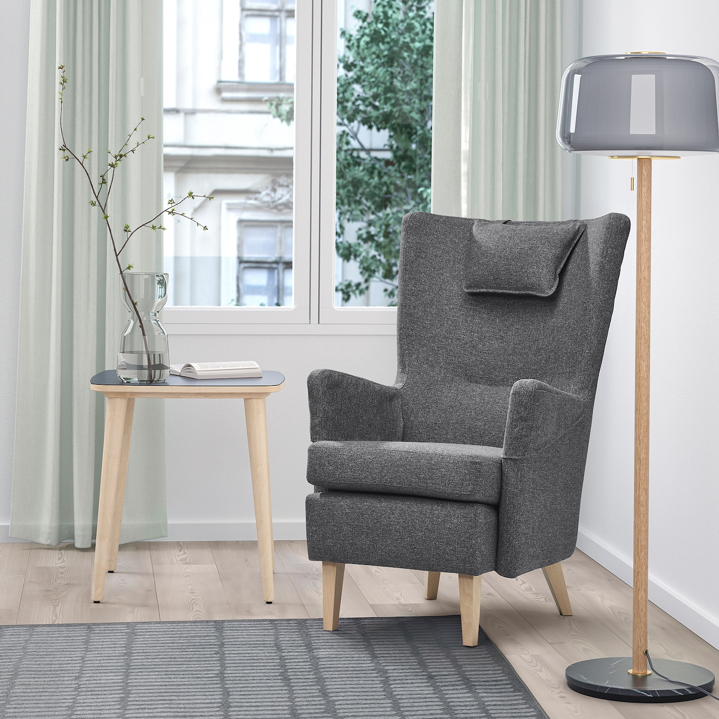 OMTÄNKSAM Armchair, Gunnared dark grey