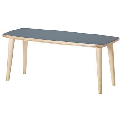 OMTÄNKSAM Coffee table, anthracite/birch, 115x60 cm