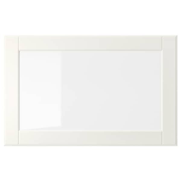 OSTVIK باب زجاج, أبيض/زجاج شفاف, 60x38 سم