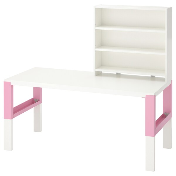PÅHL Desk with shelf unit, white/pink, 128x58 cm