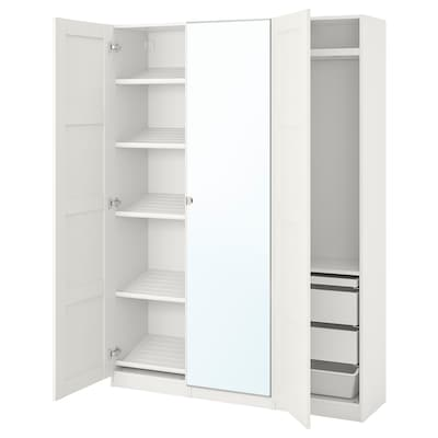 PAX / BERGSBO/VIKEDAL Wardrobe combination, white/mirror glass, 150x38x201 cm