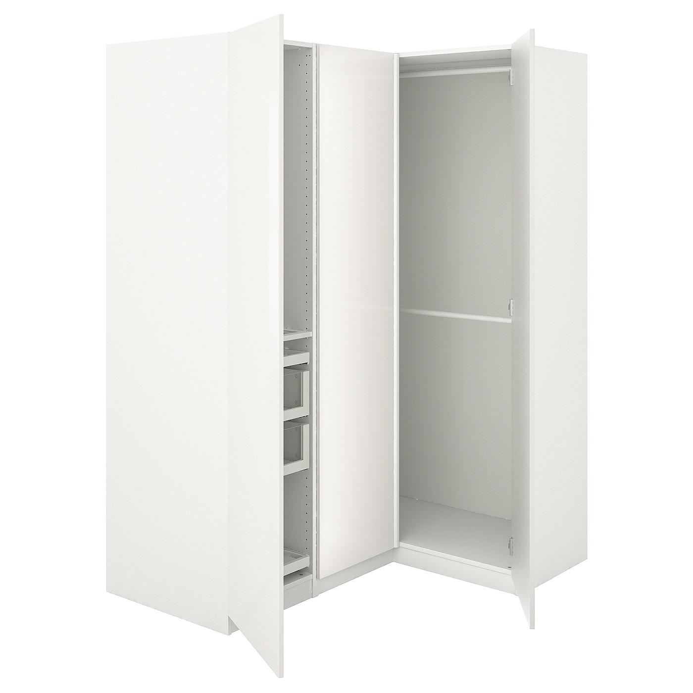 Buy Pax Corner Wardrobe White Fardal High Gloss White Online Ikea