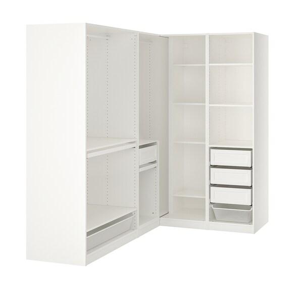 PAX Corner wardrobe, white, 210/160x201 cm
