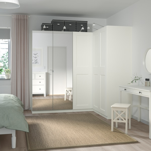PAX / GRIMO/VIKEDAL Corner wardrobe, white/mirror glass, 210/160x201 cm