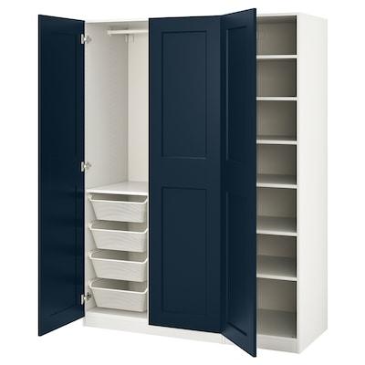 PAX / GRIMO Wardrobe combination, white/Grimo dark blue, 150x60x201 cm