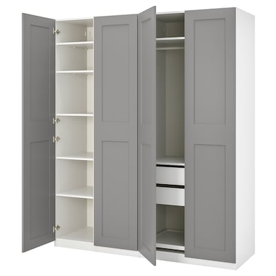 PAX / GRIMO Wardrobe combination, white/Grimo grey, 200x60x236 cm