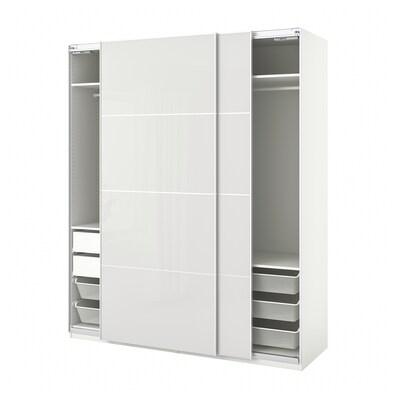 PAX / HOKKSUND Wardrobe combination, white/high-gloss light grey, 200x66x236 cm