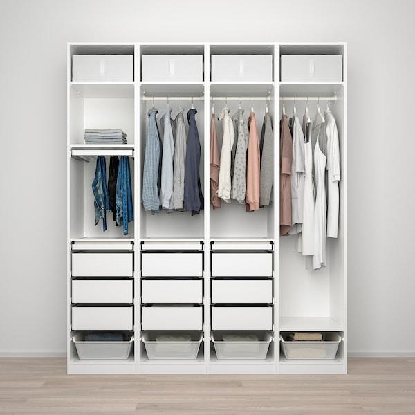 PAX / REINSVOLL تشكيلة دولاب ملابس., أبيض/رمادي-بيج, 200x60x236 سم