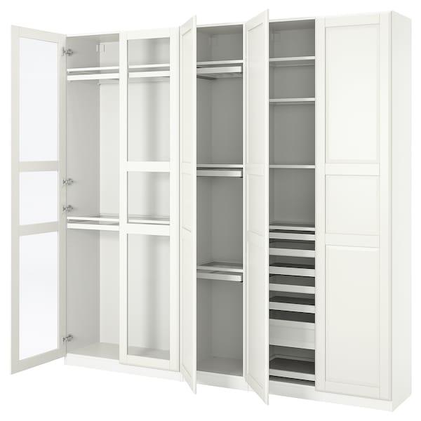 PAX / TYSSEDAL Wardrobe combination, white/glass, 250x38x236 cm