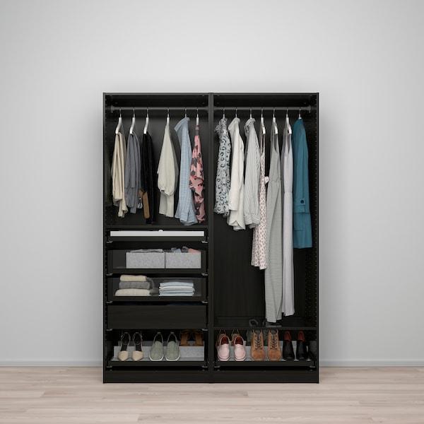 PAX تشكيلة دولاب ملابس., أسود-بني, 150x58x201 سم
