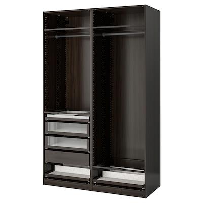 PAX تشكيلة دولاب ملابس., أسود-بني, 150x58x236 سم