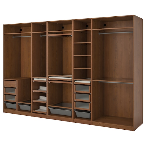 PAX wardrobe combination brown stained ash effect 375.0 cm 58.0 cm 236.4 cm