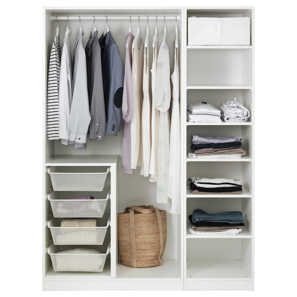 PAX دولاب ملابس, أبيض/Bergsbo أبيض, 150x60x201 سم