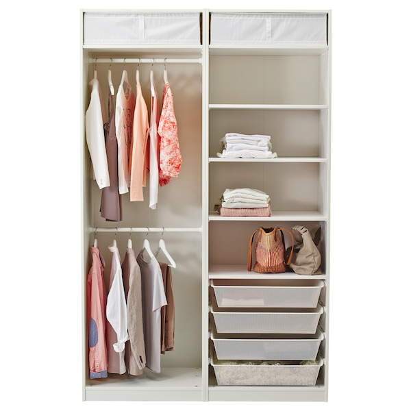 PAX دولاب ملابس, أبيض/Färvik زجاج أبيض, 150x66x236 سم
