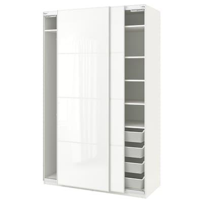 PAX Wardrobe, white/Färvik white glass, 150x66x236 cm
