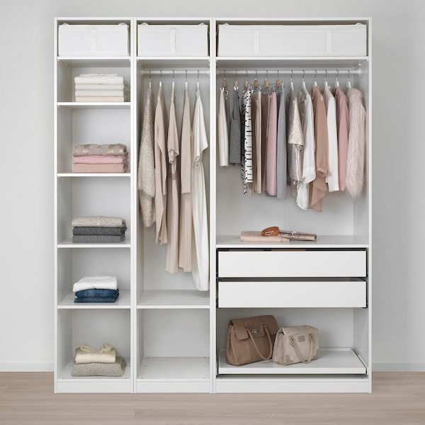 PAX دولاب ملابس, أبيض/Flisberget بيج فاتح, 200x60x236 سم