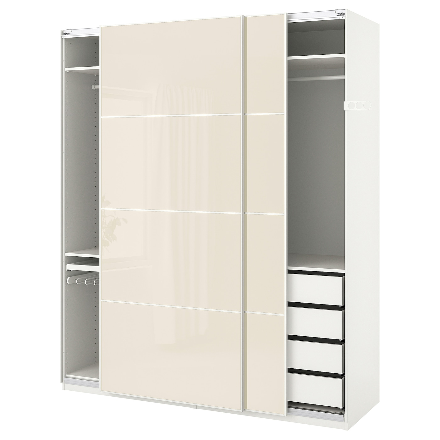 Wardrobe Pax White Hokksund High Gloss Hokksund Light Beige