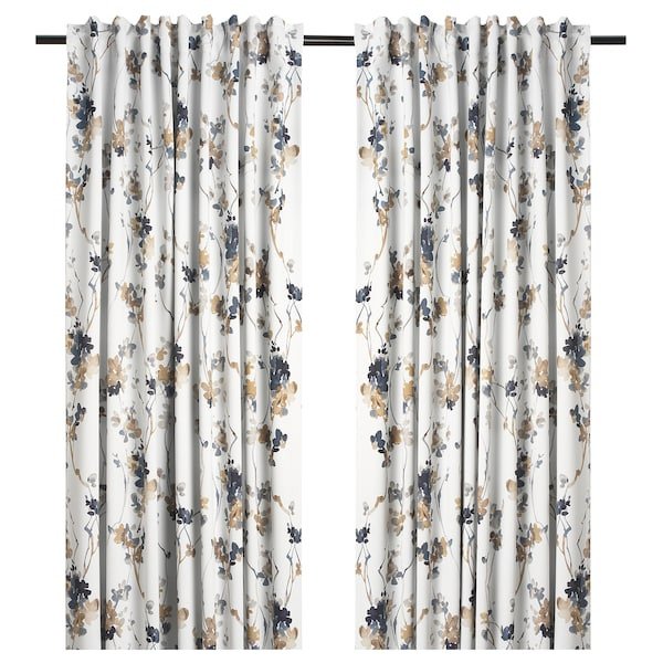 PIALOTTA Room darkening curtains, 1 pair, light beige/Flowers, 145x300 cm