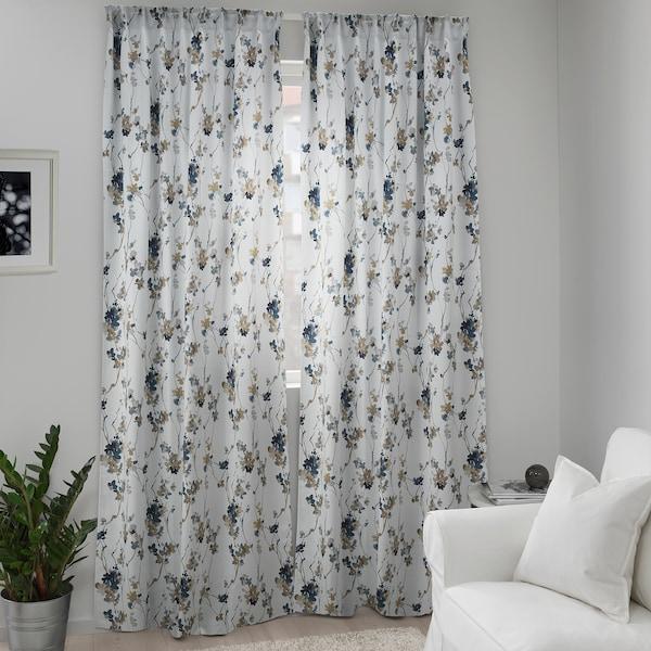 PIALOTTA Room darkening curtains, 1 pair, light beige/Flowers, 145x300 cm