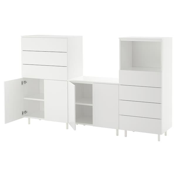 PLATSA تشكيلة تخزين, أبيض/Fonnes أبيض, 220x42x133 سم