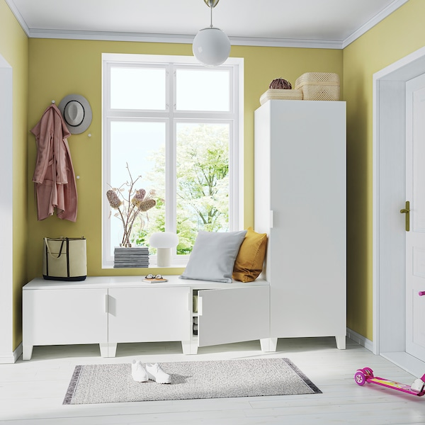 PLATSA دولاب ملابس مع 4 أبواب., أبيض/Fonnes أبيض, 240x57x191 سم