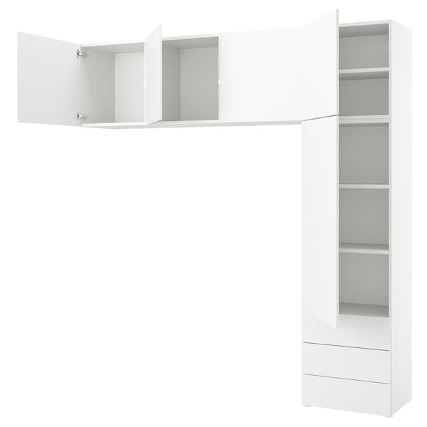 PLATSA خزانة مع 5 أبواب + 3 أدراج, أبيض/Fonnes أبيض, 240x42x241 سم
