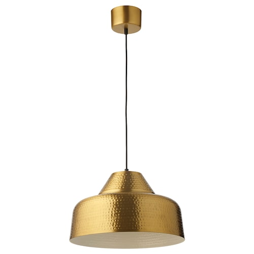 PLATTLÄNS pendant lamp brass-colour 60 W 38 cm 1.6 m