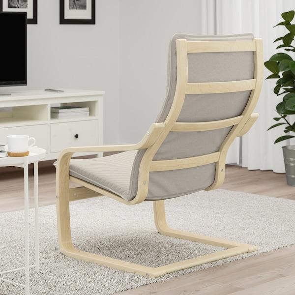 POÄNG Armchair, birch veneer/Knisa light beige