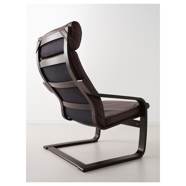 POÄNG Armchair, black-brown/Glose dark brown