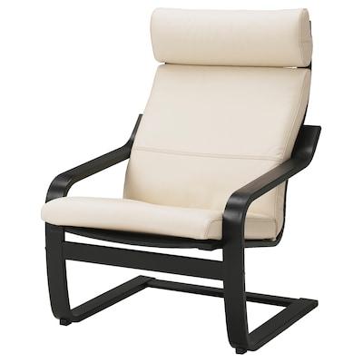 POÄNG كرسي بذراعين, أسود-بني/Glose أبيض عاجي