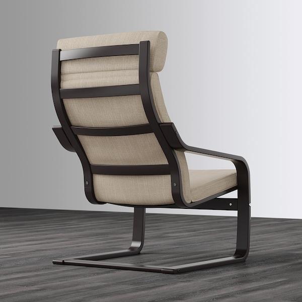 POÄNG كرسي بذراعين, أسود-بني/Hillared بيج