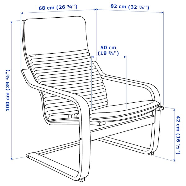 POÄNG كرسي بذراعين, أسود-بني/Knisa أسود