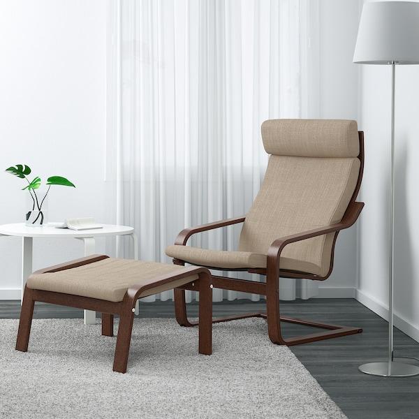 POÄNG كرسي بذراعين, بني/Hillared بيج