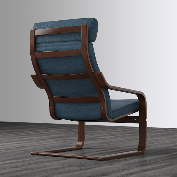 POÄNG كرسي بذراعين, بني/Hillared أزرق غامق