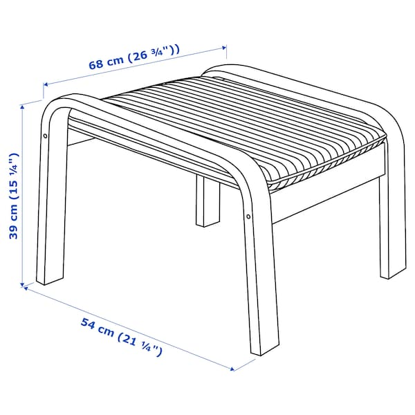 POÄNG footstool black-brown/Hillared dark blue 68 cm 54 cm 39 cm