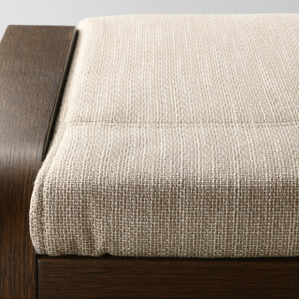 POÄNG Footstool, brown/Hillared beige