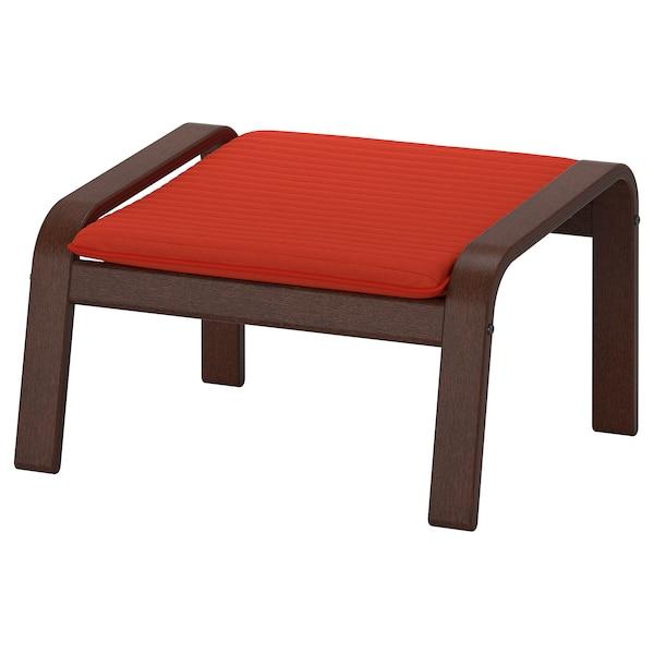 POÄNG Footstool, brown/Knisa red/orange