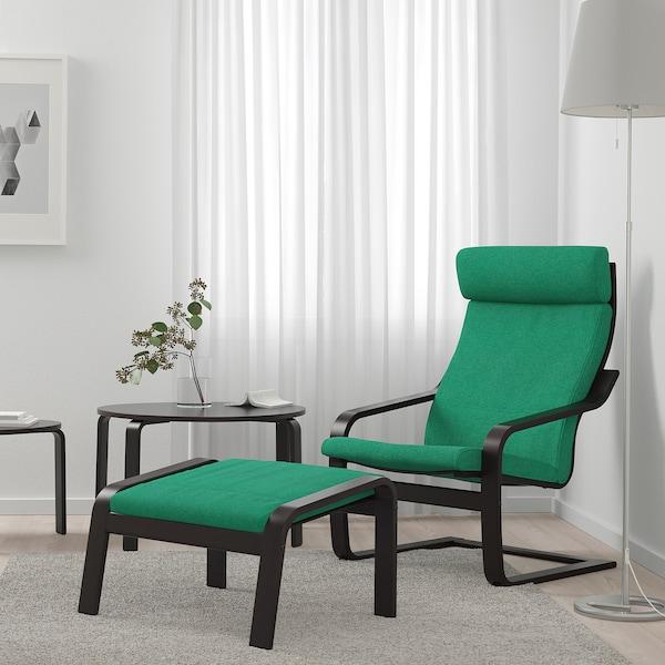POÄNG footstool black-brown/Lysed bright green 68 cm 54 cm 39 cm