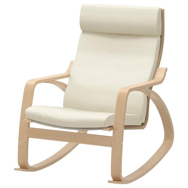 POÄNG كرسي هزّاز, قشرة بتولا/Glose أبيض عاجي